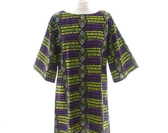 Tunika, afrikanischen Druck Tunika, afrikanische Mode, lila und grün Tunika, afrikanische Tunika, Ankara Print Kleid, lose passen Tunika Top, Tunika-Kleid