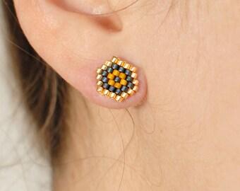 Miyuki Hexagon earrings
