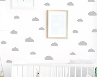 Cloud Decals Set - (Set of 80) - Puffy Cloud Wall Decal - Kids Wall Decal - Nursery Decor - Cloud Wall Decals - Nursery Cloud Stickers