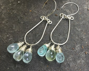 Blue Green Aquamarines on Sterling Silver Omega  Cluster Earrings    Genuine Aquamarine Gemstones