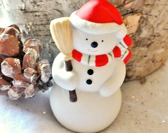 Vintage Snowman White, Bisque, Christmas Tree Holiday Decoration