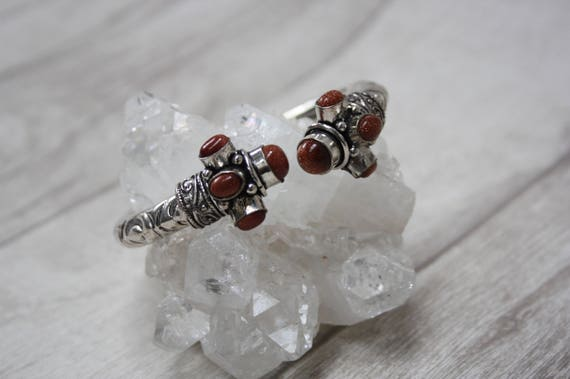 VINTAGE SANDSTONE CUFF -Silver Bracelet- Healing Crystal Jewellery- Statement bracelet- Boho- Antique- Costume Jewelry- Bangle- Arm Cuff