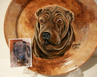 Pet Portraits Custom Hand Painted on 10.5  inch Coupe Style Plates Gift, Personalized Dog Cat Horse