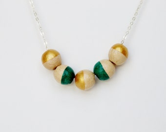 Gold and Teal Wooden Geometric Bead Necklace on a Sterling Chain