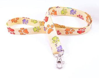 lanyard ID Badge holder key ring. Cute bright dog paw print. Lobster clasp. gift