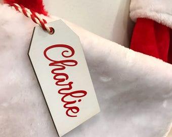 Personalized Christmas Stocking Tags, Christmas gift tag, Christmas labels, Present tags, Name Ornament tags, Stocking Sets Custom