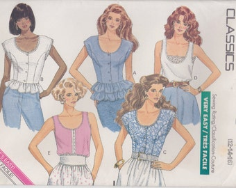 Easy Top Pattern Sleeveless Ruffles Fitted Cap Sleeves Misses Size 12, 14, 16 Uncut Easy Butterick 6469