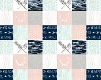 Boho Baby Quilt Woodland Baby Quilt Baby Girl Quilt Girl Crib Bedding Minky Baby Blanket Crib Bedding Set, Pink Grey Gray Mint Arrow Love