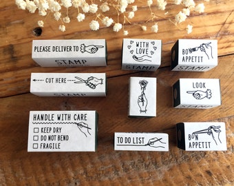 KNOOP Original Rubber Stamps - Messages for art mailing, journaling, techo planner deco, packaging, card making