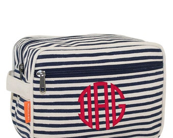 Lined Travel Kit Navy Stripes, mans travel bag, bridesmade cosmetic bag, monogrammed cosmetic bag