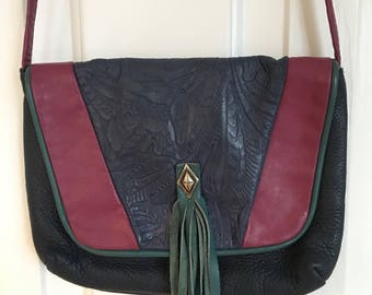 Vintage 80s soft leather American designer Gayle Anderson multi color with fringe small shoulder/cross body bag