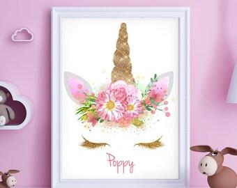 Unicorn Print, Personalised Unicorn Face A4 Children Wall Art, Boys Room,  Girls Room