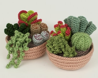 PDF Succulent Collections, eight realistic potted plant CROCHET PATTERNS