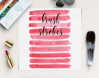 Brush Stroke Clip Art | Watercolor Digital Clipart | Red Splotches Overlay | Logo Design, Blog Elements | Buy More Save More: BUY5FOR8