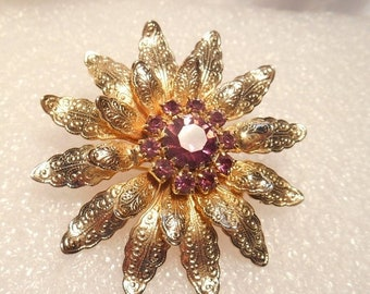 ON SALE Delicate Gold Tone Etched Layered Brooch With Prong Set Purple Rhinestones