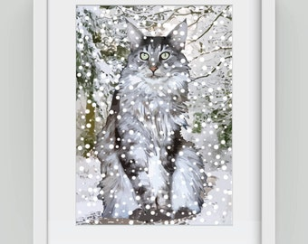Snow Cat, Giclée art print