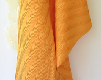 Vintage Orange Pleated Fabric - Bright Orange Fabric - Fortuny Like Pleated Fabric - Polyester Pleated Fabric - Yardage - Apparel Fabric