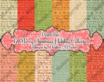 12 Merry Christmas Season's Greetings Antique Victorian DIY Retro Cottage Shabby Cream Digital Paper Pack Collection Collage Printable JOY
