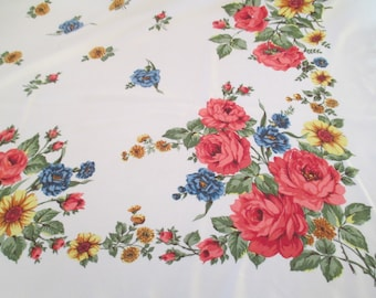 Vintage tablecloth 1.40 x 1.20 m, old tablecloth, tablecloth, summer tablecloth, floral tablecloth, shabby tablecloth, shabby chic,