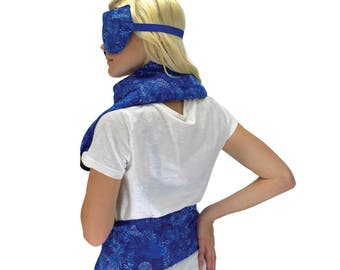 Natural, Reusable, and Washable Hot/Cold Therapy Set- Rice Heat Packs- Neck & Shoulders, Back, Stomach, and Lavender Eye Mask (Blue Flowers)
