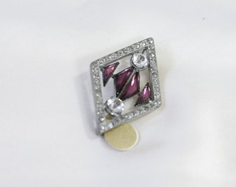 Antique Amethyst Stone Brooch. / 1920's Rhinestone Brooch. Silver tone. NATURAL STONE Glass JEWELRY
