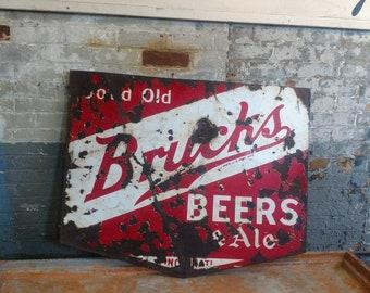 1940s Porcelain Brucks Beer Sign Bar Cincinnati Ohio Restaurant