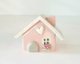Little Blush Pink Clay House Whimsical Ceramic Fairy House Gnome Home | Whimsical Terrarium Decoration