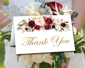 Marsala Wedding Thank You Card (TENT) Template Printable, DIY Wedding Template, Watercolor Floral Thank You Note, Printable Wedding Download