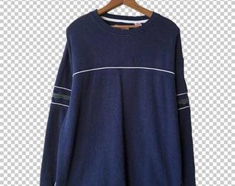 Y2K Sporty Striped Sweater // 90s Oversize Center Stripe Sweater // 90s Grunge Green Blue Pullover // Men's Large