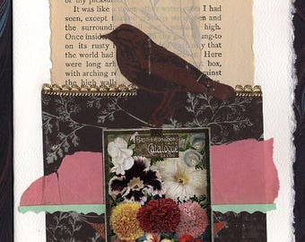 Flowers Bird Friendship Thinking of You Original Collage Card