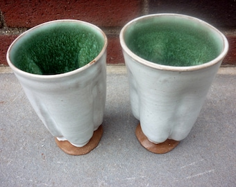 Pottery Tumbler, Party Tumblers, Organic Pottery Cup, Handless Pottery Mug, White, Green 1@F,1@H