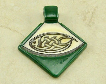 """Small Green Celtic Triangle Pendant - Oval Knot Knotwork Irish St Patricks Day Ivory Brown Clay River Designs 1 1/4"""" I ship Internationally"""