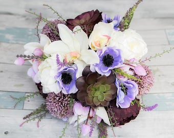Plum Blush Real Touch Wedding Peony and Succulent Bouquet - Silk Wedding Bridal Bouquet Lilac Lavender