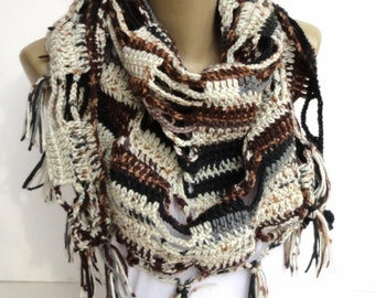 Crochet Scarf Clothing Gift Cowl Scarf Crocheted Scarf Shawl Winter Scarf Crochet Shawl Travel Gift Gift For Her For Mom For Best Friend