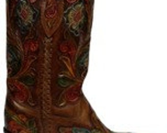 Corral Boots Hand Tooled boots in size 8