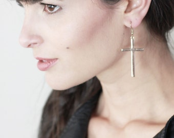 The Sara Large Cross Earrings in Gold or Silver plated