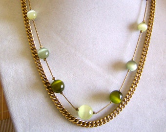 """Vintage 60's  """"DUAL STRAND NECKLACE""""  Gold Toned Chain with Multi Colored Green Tiger Eye Style Round Beads"""