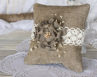 Wedding Ring Bearer Pillow, Rustic Ring Pillow, Burlap Ring stand, Wedding Ring Pillow, Lace Wedding, Pillow For Rings, Pillow Alternative