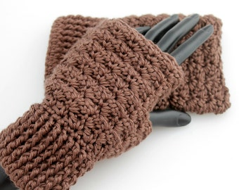 Crocheted Brown Fingerless Gloves. Mittens. Handwarmers.