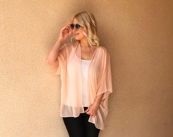 Short Peach Kimono / Kaftan / Blouse / Cover up free size