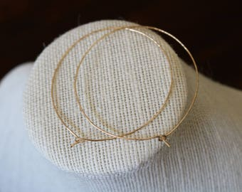 Large thin hoop earrings, gold filled, sterling silver
