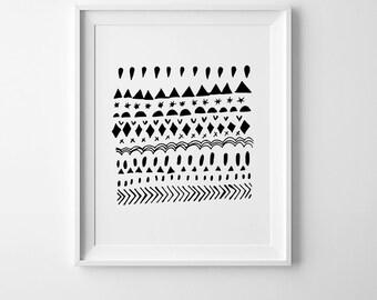 Scandinavian print, abstract art, nursery print, affiche scandinave, wall art printable, nursery decor, playroom wall art, abstract print