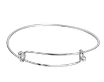 Adjustable Bright Silver Plate Bangle Bracelet (1170)