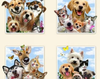 Selfie Squad Panel - Sold By PANEL Only - Elizabeth Studios - Dog Selfie - Laughing Dogs - Humorous Dog Fabric - 15- 6'' Blocks in ONE Panel