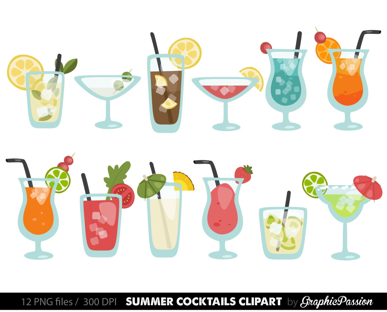 summer cocktails clipart cocktail clip art summer clip art rh etsy com cocktail clip art black and white cocktail clipart black and white