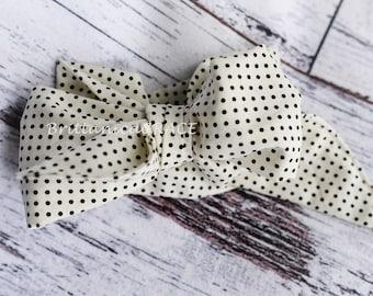 MINI POLKA DOTTIE Head Wrap- black polka dot headwrap; hair accessories; newborn headband; infant headband; baby headband; toddler headband