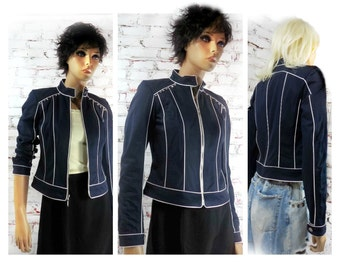 navy jacket  - upcycled jacket - Contrast Piping Blazer -navy and white jacket - navy cropped jacket -  # 79