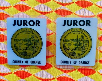 SET of 2! Vintage Orange County Jury Duty JUROR BADGE
