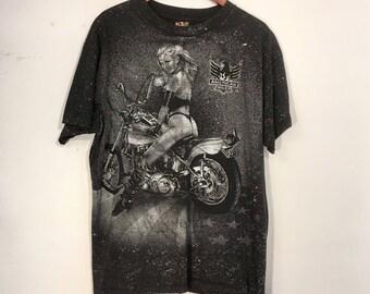 Vintage 3D Emblem Shirt American Biker Harley Daytona Beach 90's XL All Over Print