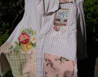 Vintage materials upcycled barkcloth tunic -